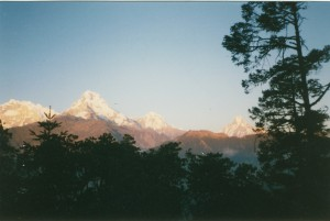 "Annapurna South and Mcchapucture ""fishtail"" mountain from Poon Hill"