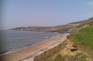 lyme regis from charmouth beach