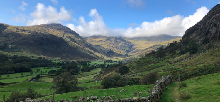 The Langdale Horseshoe from the Old Dungeon Ghyll Hotel, Lake District